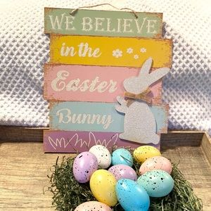 Easter farmhouse distressed sign and speckled eggs